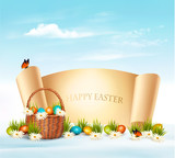 Happy Easter background. Eggs in a basket. Vector. - 191415349
