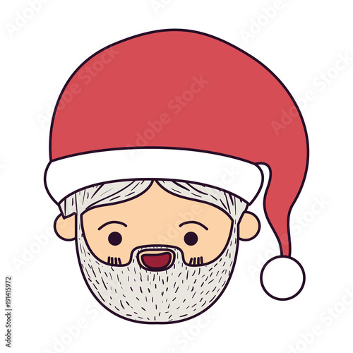 santa claus kawaii face smiling expression with christmas hat on colorful silhouette vector illustration - 191415972