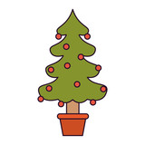 christmas tree with decorative garlands in potplant colorful silhouette on white background vector illustration - 191416954