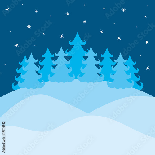 Poster Pool winter landscape with pines and sky with stars on colorful silhouette vector illustration