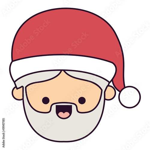 santa claus man kawaii face smiling expression colorful silhouette on white background vector illustration - 191417185