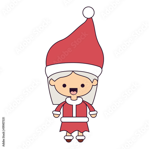 santa claus woman cartoon full body face happiness expression colorful silhouette on white background vector illustration - 191417531