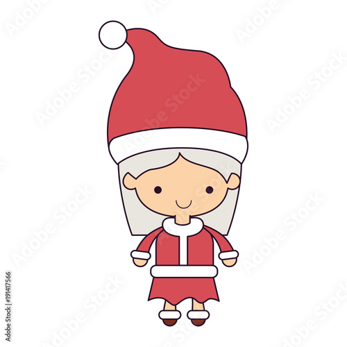 santa claus woman cartoon full body face smiling expression colorful silhouette on white background vector illustration - 191417566