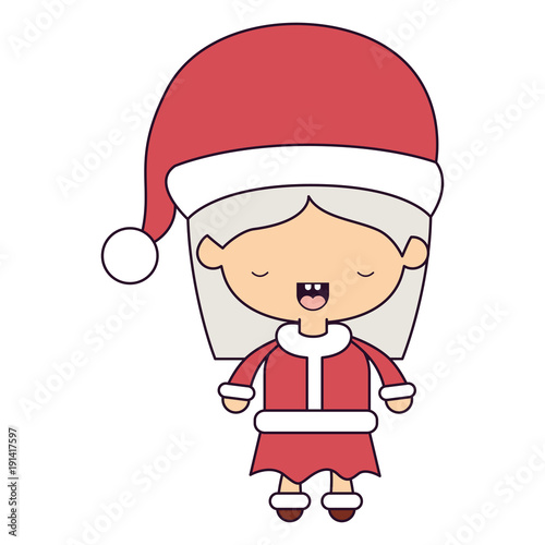 santa claus woman cartoon full body face eyes closed expression colorful silhouette on white background vector illustration - 191417597