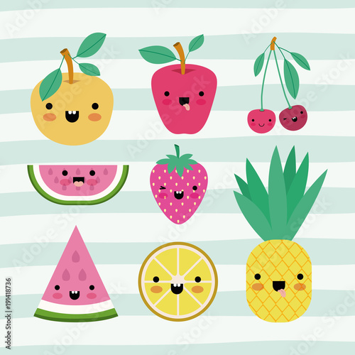 kawaii fruits set collection on decorative lines color background vector illustration