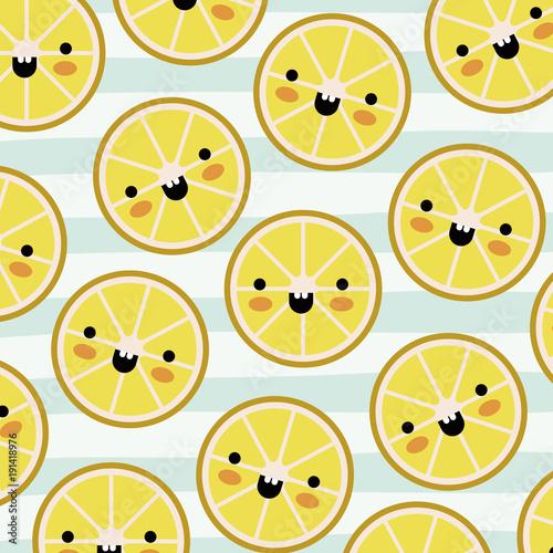 orange slices kawaii fruits pattern set on decorative lines color background vector illustration