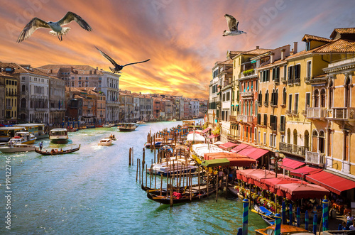 Panoramic sunset view of famous Grand Canal in Venice, Italy