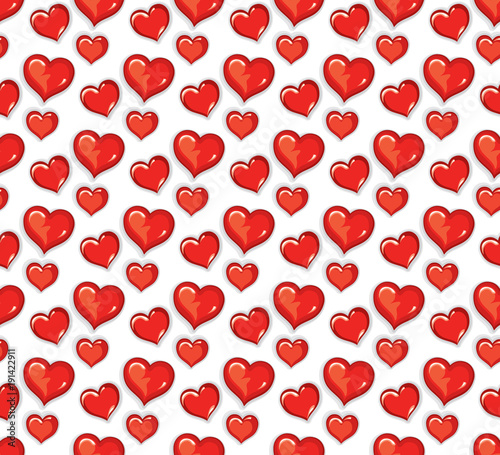 Seamless pattern lot of red air hearts for Valentine's Day.
