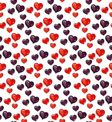 Seamless pattern lot of red and dark hearts for Valentine's Day. © difinbeker