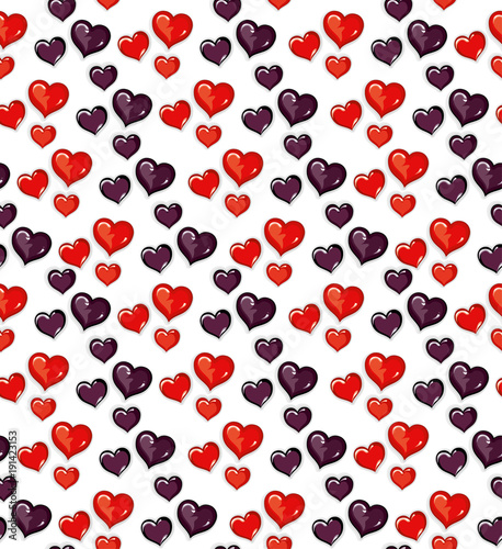 Seamless pattern lot of red and dark hearts for Valentine's Day.