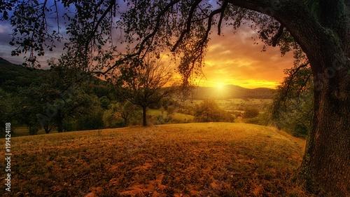 Fotobehang Zwart gün batımı