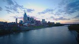 an ultra wide panning shot of the city of nashville at sunset in tennesse, usa - 191430526