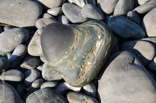 Foto op Plexiglas Stenen in het Zand Heart-shaped sea stone on rock beach,Koh hin ngam , Lipe island, Thailand