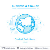 Global solutions symbol on white. - 191434173