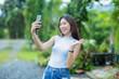 Asian girl  taking selfie photo