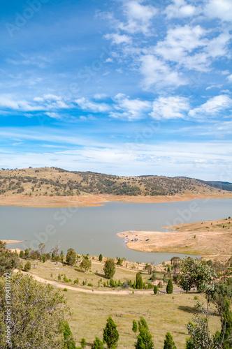 Countryside landscape of lake, dam reservoir