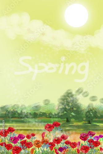Foto op Plexiglas Zwavel geel Painting landscape watercolor happy spring, flowers of roses.