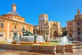 Valencia Fountain Rio Turia on Square of the Virgin Saint Mary, - 191441791