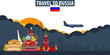 Travel to Russia. Travel and Tourism banner. Clouds and sun with airplane on the background.