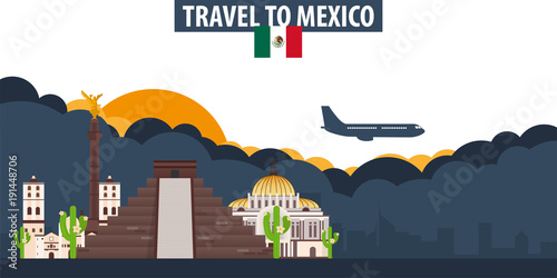 Travel to Mexico. Travel and Tourism banner. Clouds and sun with airplane on the background.