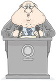 Politician standing behind a rostrum and giving a speech - 191453784
