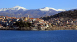 Scenic view of Kastoria town and the famous Orestiada lake in Greece - 191457727