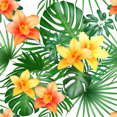 Tropical seamless pattern with palm leaves and flowers. Vector illustration.