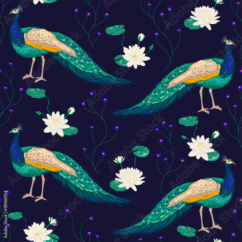 Seamless pattern with peacock and water lily. Vintage vector illustration in watercolor style - 191461154