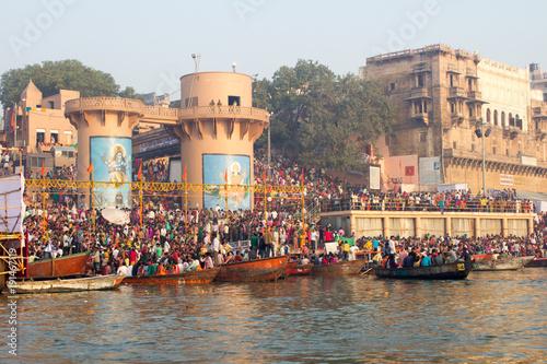 Staande foto India Varanasi Ghats, Diwali Festival, Ganges River and Boats, Uttar Pradesh, India