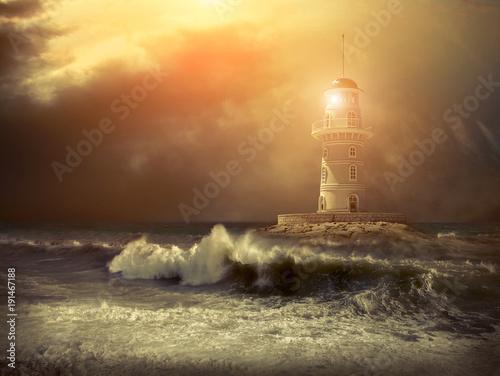 Fotobehang Vuurtoren Lighthouse on the sea under sky