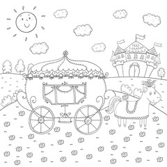 coloring book fairy tale carriage and magic castle design for kids.