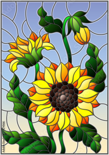 illustration-in-stained-glass-style-with-a-bouquet-of-sunflowers-flowers-buds-and-leaves-of-the-flower-on-sky-background