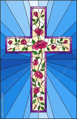 ilustracja-w-stylu-witrazu-z-chrzescijanskiego-krzyza-zdobia-rozowe-roze