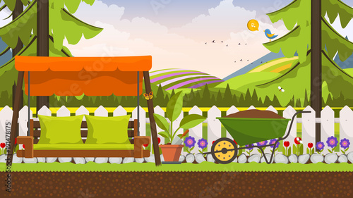 Deurstickers Lime groen Beautiful vector art flower bed in garden with swing bed. Landscape background.