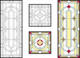 Abstract geometric floral pattern in a rectangular and square frame / Colorful stained glass window in classic style for ceiling or door panels, Tiffany technique. Vector set - 191479111