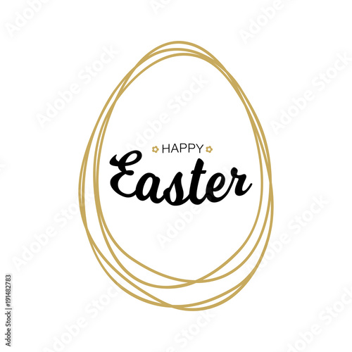 Happy Easter black typographic calligraphic lettering with gold scribble egg frame  isolated on white background. Retro holiday easter badge. Religious holiday sign. Vector illustration