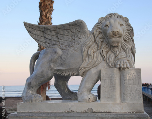 Tuinposter Cyprus Winged Lion statue at Foinikoudes promenade, Larnaca, Cyprus