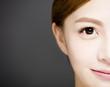 Quadro closeup half smiling woman face with Beautiful eyes