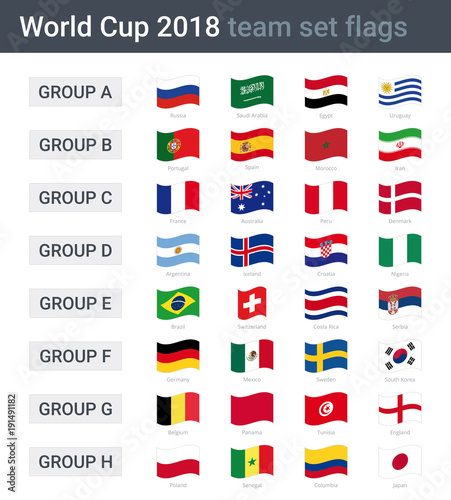 World cup 2018 team waving flags - groups of championship cup 2018 in Russia