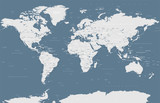 Political Grayscale World Map Vector - 191491335