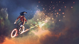 man with fancy clothes riding bicycle with glowing wheels in outer space, digital art style, illustration painting - 191493364