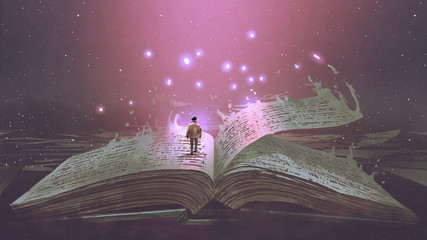 Boy standing on the opened giant book with fantasy light, digital art style, illustration painting © grandfailure