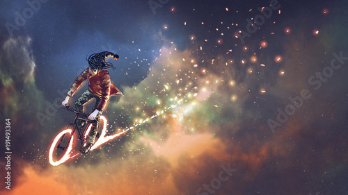 man with fancy clothes riding bicycle with glowing wheels in outer space, digital art style, illustration painting © grandfailure