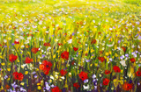 Oil painting of a poppy field. Summer flowers red field. Modern art - impressionism, texture. - 191494518