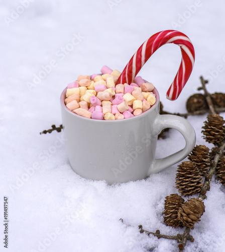 Foto op Canvas Chocolade gray ceramic cup with hot chocolate and marshmallows