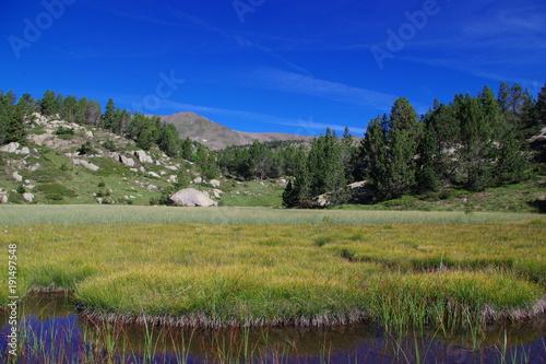 Foto op Plexiglas Donkerblauw Lac de montagne sur fond de sommet