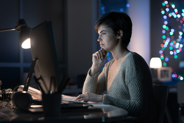 Woman connecting late at night