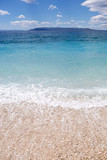 Vertical deep blue sea water.Adriatic coast in Croatia.Exotic travel destination for summer vacation travel.Popular tourist area.Fantastic blue lagoon in Croatian Riviera - 191499174