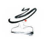 Abstract woman with hat. Fashion illustration.  - 191499341
