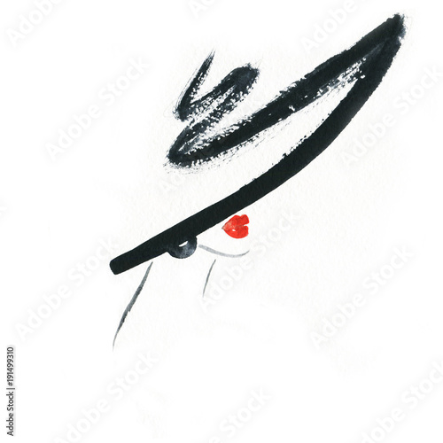 Fotobehang Anna I. Abstract woman with hat. Fashion illustration.